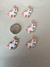 Enamel pink Unicorn gold tone charms X5.