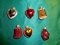 6 alte kleine Christbaumkugeln Glas Herz silber weiß gold Federbaum Puppenstube