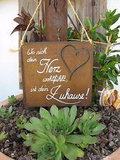 """Spruchtafel - Edel-Rost -Tafel - Garten - Schild - """"Wo sich dein Herz .."""" (32)"""