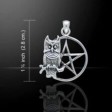 Owl with Pentacle .925 Sterling Silver Pendant by Peter Stone