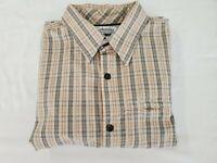 Columbia Shirt Mens L Gray Orange Beige White Sh Sleeve Plaid Casual Button Up