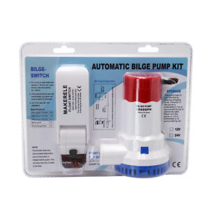 1500GPH 12V Submersible Marine Boat Bilge Water Pump Kit With Float Switch CE