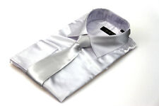 Mens White Silk Satin Dress Shirt Italian Design All Sizes S M L XL XXL 3XL 4XL