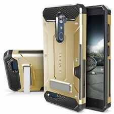 ZTE ZMAX PRO Case Dual Layer Hybrid Protection Kickstand Credit Card Slot Gold