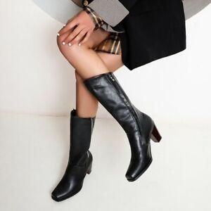 Womens Retro Mid Calf Boots High Heel Square Toe Classic Fashion Lady Shoes Plus