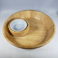 Bamboo Chip and Dip Set w Removable Ceramic Bowl