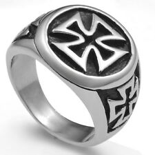 Size 7 to 15 Stainless Steel Black Iron Cross Biker Ring Punk Hiphop Graduation