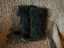 MINNETONKA-Calf High-3-Layer Fringe Boot Black Suede-Size 6-Excellent