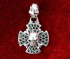 Biker Chopper Rocker Iron Cross Kreuz Skull Totenkopf Anhänger Zirkon 925 Silber