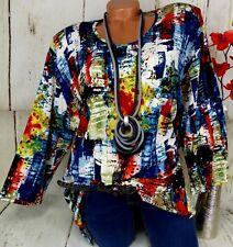 Leins Designer Shirt Tunika Bluse Lagenlook Schlitze Top T-Shirt Bunt  3) 50 52