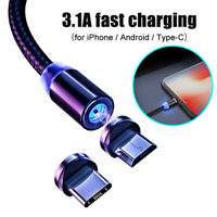 3.1A Micro USB Type-C Magnetic Fast Charging Data Cable for iPhone Android