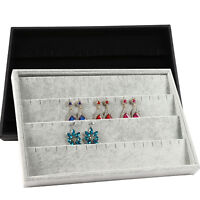 2 Colours Jewelry Display Velvet Texture Jewelry Box Earrings Storage uk