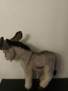 """Steiff Adorable Donkey 60s """"Grissy"""" Gray/Brown 15"""" Button in Ear Stands Up"""