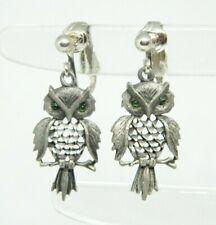 Green Eyed Owl Open Work Silver Tone Dangle Clip Earrings
