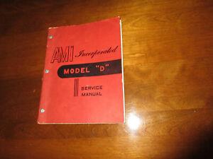 "1952 AMI Model ""D"" Jukebox Original Service Manual"
