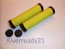 """Lime Green Lock-on Grips for 7/8"""" bars Jet-Ski Sea-Doo Bike bmx super-jet NStock"""