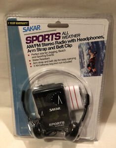 SAKAR RY215 Sports All Weather AM/FM Stereo Radio W/ Headphones Arm Strap Belt