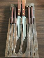Vintage Robinson Yugoslavia 6 Stainless Steel Serrated Steak Knives With Holder