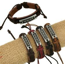 Wholesale 12pcs Handmade Leather Alloy Blackground WWJD? Accessories Bracelets