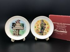 2 Flambro Emmett Kelly Jr Four Seasons Miniature Porcelain 24k Gold Rim Plates