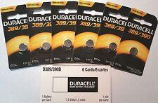 6X Duracell 390 389 SR1130W SW SR54 LR54 AG10 D389/390 V389/390 M 626 Battery