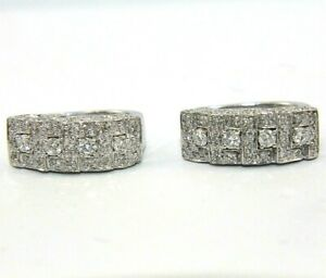 Round Diamond Cluster Pave Lady's Huggie Snap Earrings 14K White Gold .79Ct