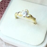 Vintage Jewellery Gold Claddagh Love Ring White Sapphire Heart Antique Jewelry
