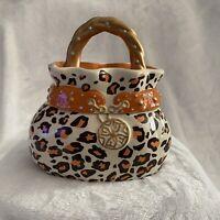 Davids Cookies Purse Cookie Jar Ceramic Collectable Leopard Print
