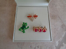 New Kim Rogers Jewelry Set Pins Brooches Christmas Gift Frog Ladybugs Dragonfly