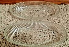 2-1950's Pressed Glass Starburst/Ribbed Pattern Oval Shape Dishes