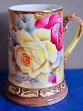 Nippon Morimura Bros. Beer Stein Antique Hand Painted Roses Porcelain Meiji