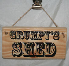 Grumpy Shed Sign Plaque Hanging Man Cave Garage Shop Wood Home Office Allotment Personalised