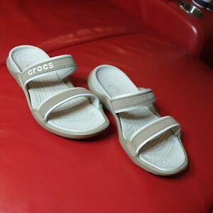 Crocs US 6.5 Boulder Colorado Beige Size UK 4 Sandals Shoes