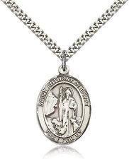 "Saint Anthony Of Egypt Medal For Men - .925 Sterling Silver Necklace On 24"" C..."