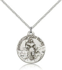 """Saint Joan Of Arc Medal For Women - .925 Sterling Silver Necklace On 18"""" Chai..."""