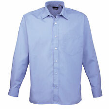 Premier Easycare Poplin Shirt Mens Long Sleeved Polycotton Formal Collar Pr200 Mid Blue 19