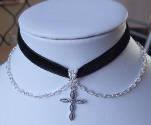 "Cross charm CHOKER necklace chain black velvet ribbon 13"" retro gothic ribbon"