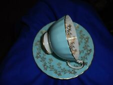 VINTAGE AYNSLEY ENGLAND BONE CHINA TEA CUP & SAUCER Turquoise Blue  & Gold