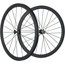 700C 38mm Carbon Fiber Wheelset Clincher Road Bike Wheel 25 Width 3K Matte 271