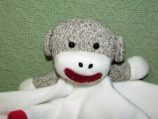 Baby Starters RED Sock Monkey Plush Rattle White Security Blanket Satin Back Toy