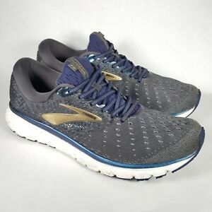 Brooks Mens Glycerin 17 1102961D048 Gray Blue Running Shoes Lace Up Size 13 D