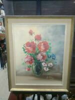 "Vintage Still-Life Floral Painting Signed ""Lopen"" On canvas, Framed"