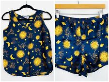 Bedtime Stories Womens Y2K Satin Pyjamas Sun Moon Star Set Size 12 AU