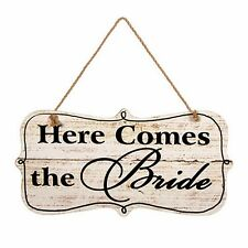 """Wooden Mdf """"Here Comes The Bride"""" Sign w/ Jute Hanger 9.5"""" X 18.7 Wedding Decor"""