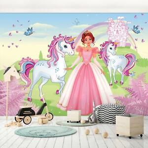 Fototapete Einhorn Prinzessin Kinderzimmer Rosa Kinder Mädchen Tapete 83