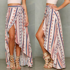 Boho Women Summer Floral Asymmetric Sexy Ladies Beach Holiday Long Skirt Dress