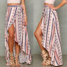 Boho Women Summer Floral Asymmetric Sexy Ladies Beach Holiday Long Skirt Dress