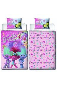 Trolls Concert Single Duvet Cover + Pillowcase Set Reversible Pink Girls Bedding