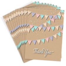 Pretty Bunting Style - Folding Style A6 Thank you cards with Envelopes (Pack 10)