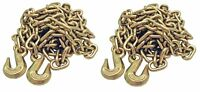 """2 PACK 5/16"""" 20' G70 Tow Chain Tie Down Binder Flatbed Truck W/ Hooks Grade 70"""